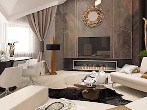 POD TATRAMI - Średni szary salon z jadalnią, styl eklektyczny - zdjęcie od FAMM DESIGN