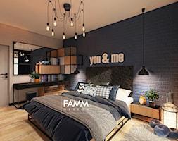 INDUSTRIAL NA MOKOTOWIE - Średnia szara sypialnia małżeńska, styl industrialny - zdjęcie od FAMM DESIGN