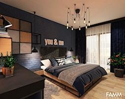 INDUSTRIAL NA MOKOTOWIE - Średnia niebieska sypialnia małżeńska, styl industrialny - zdjęcie od FAMM DESIGN