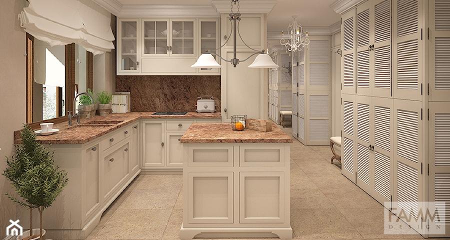 widok na kuchnię z wyspą  zdjęcie od FAMM DESIGN -> Kuchnia Retro Cena