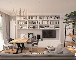 SKANDYNAWSKI LOOK - Średnia otwarta szara jadalnia w salonie, styl skandynawski - zdjęcie od FAMM DESIGN