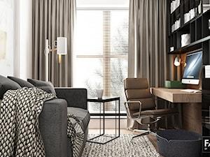 WORONICZA - Średnie beżowe białe biuro domowe w pokoju, styl nowoczesny - zdjęcie od FAMM DESIGN
