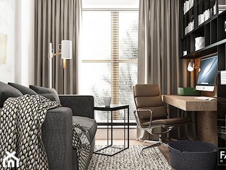 Aranżacje wnętrz - Biuro: WORONICZA - Średnie beżowe białe biuro domowe w pokoju, styl nowoczesny - FAMM DESIGN. Przeglądaj, dodawaj i zapisuj najlepsze zdjęcia, pomysły i inspiracje designerskie. W bazie mamy już prawie milion fotografii!