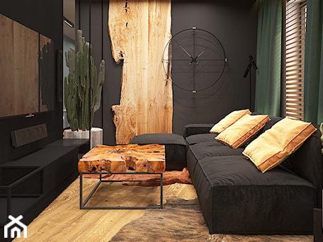 Aranżacje wnętrz - Salon: LUBLIN PO MOJEMU - Mały czarny salon, styl industrialny - FAMM DESIGN. Przeglądaj, dodawaj i zapisuj najlepsze zdjęcia, pomysły i inspiracje designerskie. W bazie mamy już prawie milion fotografii!