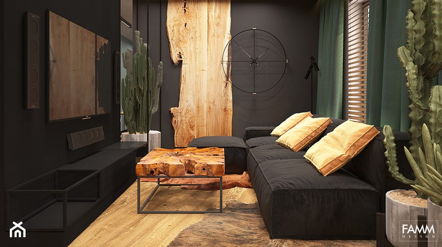 LUBLIN PO MOJEMU - Mały czarny salon, styl industrialny - zdjęcie od FAMM DESIGN