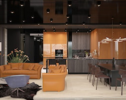 ELEGANCKI TORUŃ - Duży brązowy pomarańczowy salon z kuchnią z jadalnią, styl nowoczesny - zdjęcie od FAMM DESIGN