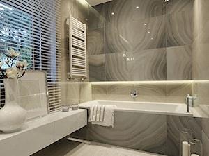 Średnia beżowa szara łazienka w domu jednorodzinnym z oknem, styl minimalistyczny - zdjęcie od FAMM DESIGN