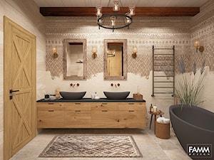WIEJSKA REZEDENCJA - Średnia szara łazienka w bloku w domu jednorodzinnym bez okna, styl eklektyczny - zdjęcie od FAMM DESIGN