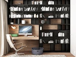WORONICZA - Małe białe biuro kącik do pracy w pokoju, styl nowoczesny - zdjęcie od FAMM DESIGN