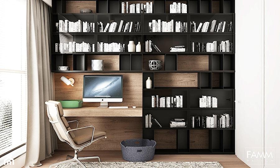 Aranżacje wnętrz - Biuro: WORONICZA - Małe białe biuro kącik do pracy w pokoju, styl nowoczesny - FAMM DESIGN. Przeglądaj, dodawaj i zapisuj najlepsze zdjęcia, pomysły i inspiracje designerskie. W bazie mamy już prawie milion fotografii!