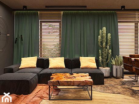 Aranżacje wnętrz - Salon: LUBLIN PO MOJEMU - Średni czarny salon z jadalnią, styl industrialny - FAMM DESIGN. Przeglądaj, dodawaj i zapisuj najlepsze zdjęcia, pomysły i inspiracje designerskie. W bazie mamy już prawie milion fotografii!