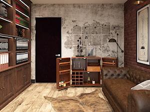 INSPIRACJE KOLONIALNE - Duże beżowe brązowe biuro domowe w pokoju, styl eklektyczny - zdjęcie od FAMM DESIGN