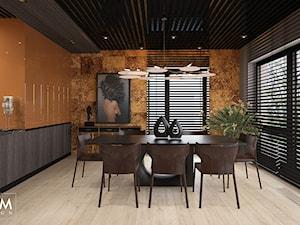 ELEGANCKI TORUŃ - Duża otwarta pomarańczowa jadalnia jako osobne pomieszczenie, styl nowoczesny - zdjęcie od FAMM DESIGN