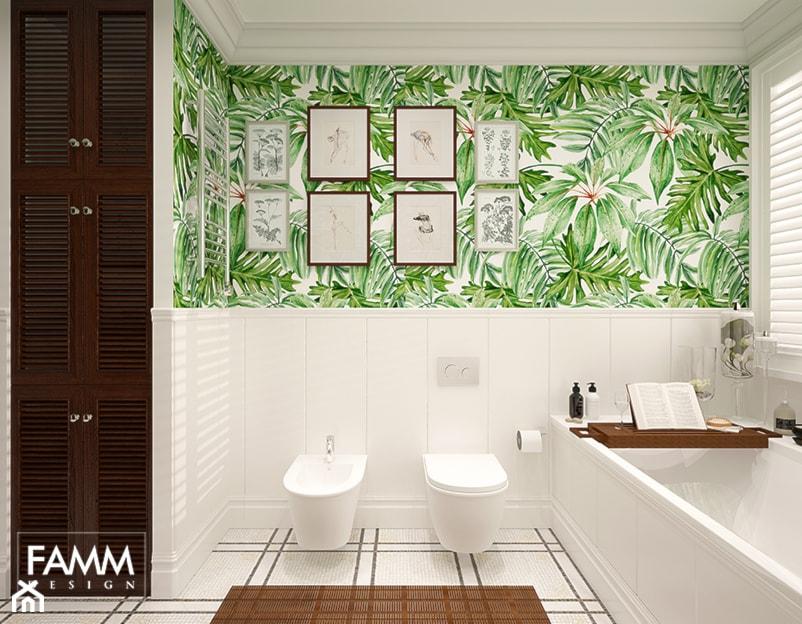 SASKA KĘPA - Średnia biała łazienka na poddaszu w bloku w domu jednorodzinnym z oknem, styl kolonialny - zdjęcie od FAMM DESIGN
