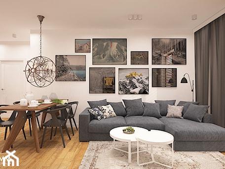 Aranżacje wnętrz - Salon: POD WYNAJEM - Średni biały salon z jadalnią, styl eklektyczny - FAMM DESIGN. Przeglądaj, dodawaj i zapisuj najlepsze zdjęcia, pomysły i inspiracje designerskie. W bazie mamy już prawie milion fotografii!
