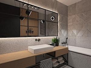 INDUSTRIAL NA MOKOTOWIE - Mała szara łazienka w bloku bez okna, styl vintage - zdjęcie od FAMM DESIGN