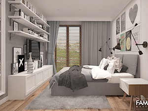 SKANDYNAWSKI LOOK - Średnia biała szara sypialnia małżeńska, styl skandynawski - zdjęcie od FAMM DESIGN