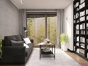 DLA SINGLA - Średni szary biały salon z bibiloteczką, styl minimalistyczny - zdjęcie od FAMM DESIGN