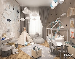 POWRÓT DO DZIECIŃSTWA - Średni brązowy pokój dziecka dla chłopca dla dziewczynki dla malucha, styl skandynawski - zdjęcie od FAMM DESIGN