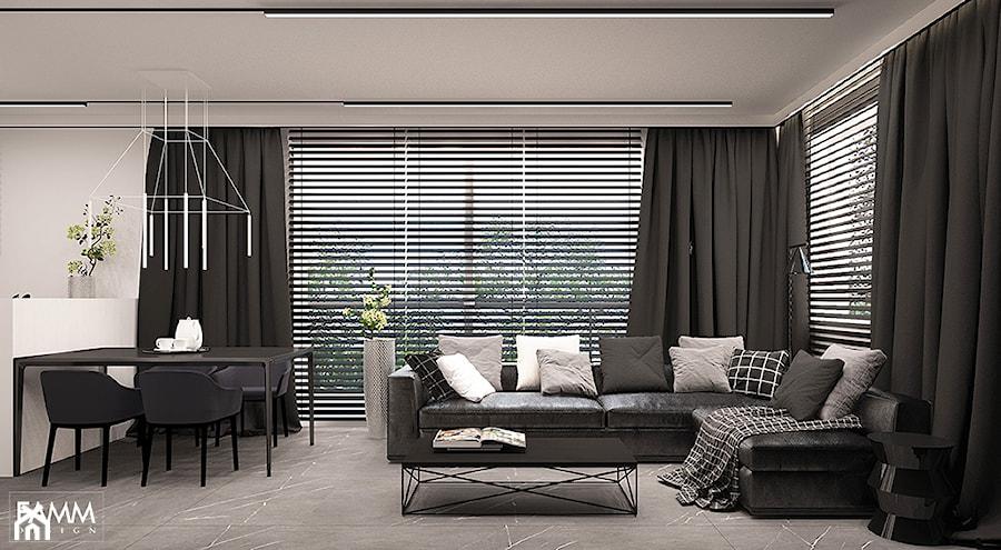 BLACK & WHITE - Duży biały salon z kuchnią z jadalnią, styl minimalistyczny - zdjęcie od FAMM DESIGN