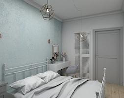 Zmysłowa elegancja apartament Mokotów - Mała biała turkusowa sypialnia małżeńska, styl eklektyczny - zdjęcie od Dizajnia art - studio projektowe