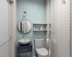 Zmysłowa elegancja apartament Mokotów - Mała niebieska łazienka, styl eklektyczny - zdjęcie od Dizajnia art - studio projektowe - Homebook