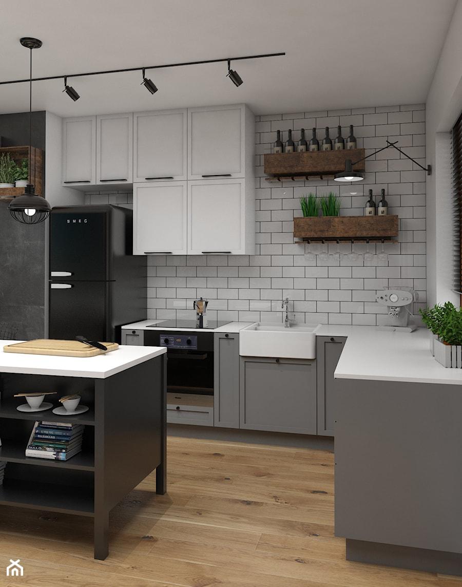 Industrialne Retro średnia Otwarta Biała Kuchnia W