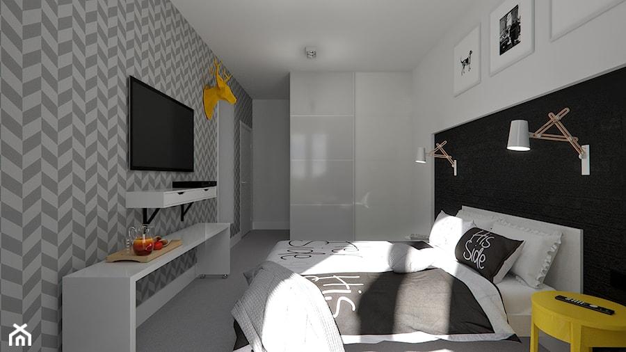 Czarno Biała Sypialnia Projekt Wnętrza Mieszkalnego