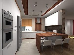 Duża otwarta beżowa brązowa kuchnia w kształcie litery g z wyspą, styl nowoczesny - zdjęcie od Rogalska Design