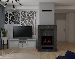 Eklektyczny dom - Mały szary biały salon, styl klasyczny - zdjęcie od JoKDesign