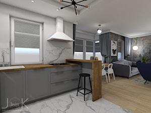 Eklektyczny dom - Średnia otwarta szara kuchnia w kształcie litery l, styl klasyczny - zdjęcie od JoKDesign