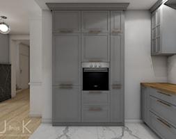 Eklektyczny dom - Średnia otwarta szara kuchnia w kształcie litery l w aneksie, styl klasyczny - zdjęcie od JoKDesign