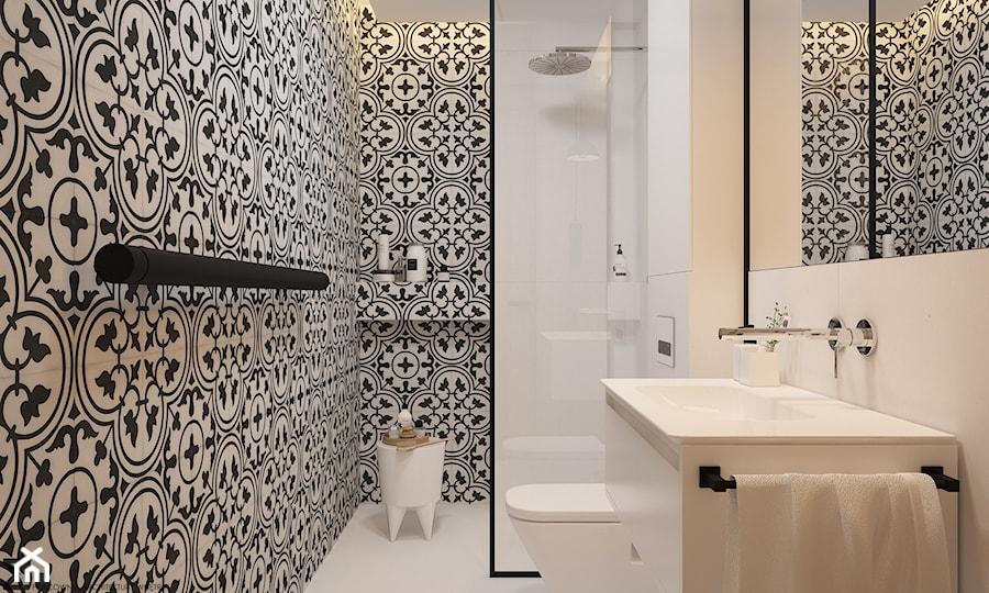 płytki ze wzorem marokańskim na ścianach łazienki