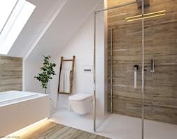 """W klimacie """"new nordic"""" - Średnia łazienka na poddaszu, styl skandynawski - zdjęcie od ELEMENTY - Pracownia Architektury Wnętrz"""