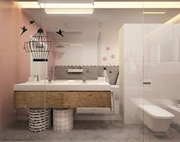 Wnętrze inspirowane kolorem - Duża biała szara różowa łazienka z oknem, styl skandynawski - zdjęcie od ELEMENTY