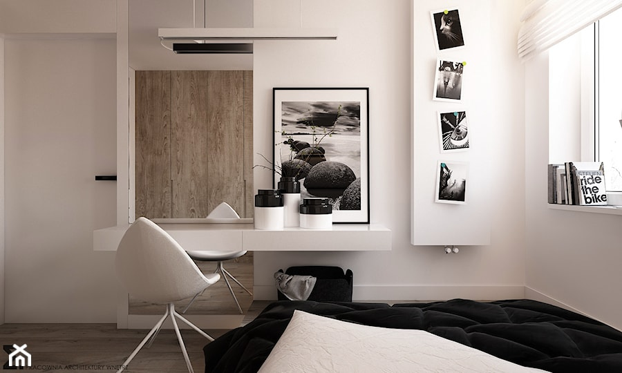 Apartament WBW - Średnia biała sypialnia małżeńska, styl minimalistyczny - zdjęcie od ELEMENTY