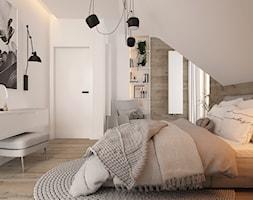New nordic 2 - koncepcja - Średnia biała sypialnia małżeńska na poddaszu, styl skandynawski - zdjęcie od ELEMENTY