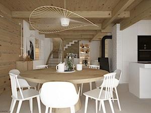 Dom drewniany - Średnia otwarta biała jadalnia w kuchni, styl skandynawski - zdjęcie od ELEMENTY