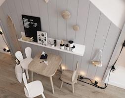New nordic 2 - koncepcja - Mały biały szary pokój dziecka dla chłopca dla dziewczynki dla ucznia dla malucha, styl skandynawski - zdjęcie od ELEMENTY
