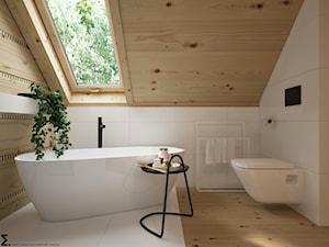 Dom drewniany - Mała biała łazienka na poddaszu w domu jednorodzinnym z oknem, styl skandynawski - zdjęcie od ELEMENTY