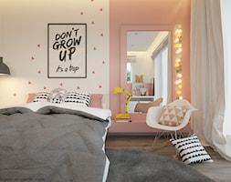 Pokoje dla nastolatków młodszych i najmłodszych - Średni biały różowy pokój dziecka dla dziewczynki dla nastolatka, styl skandynawski - zdjęcie od ELEMENTY