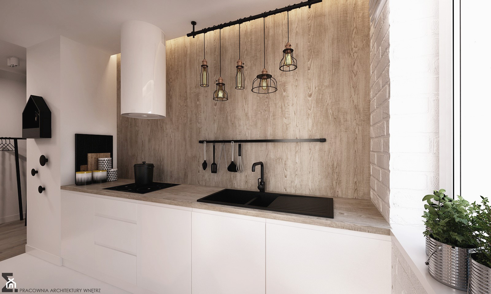 Apartament WBW - Mała otwarta biała kuchnia jednorzędowa w aneksie, styl industrialny - zdjęcie od ELEMENTY - Homebook