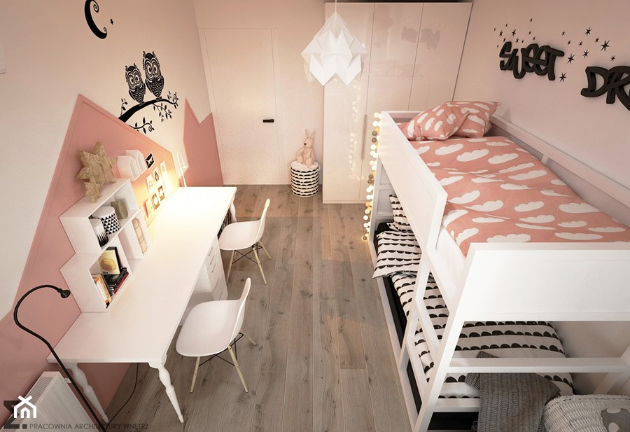 Pokoje dla nastolatków młodszych i najmłodszych - Średni biały różowy pokój dziecka dla dziewczynki dla rodzeństwa dla malucha, styl skandynawski - zdjęcie od ELEMENTY