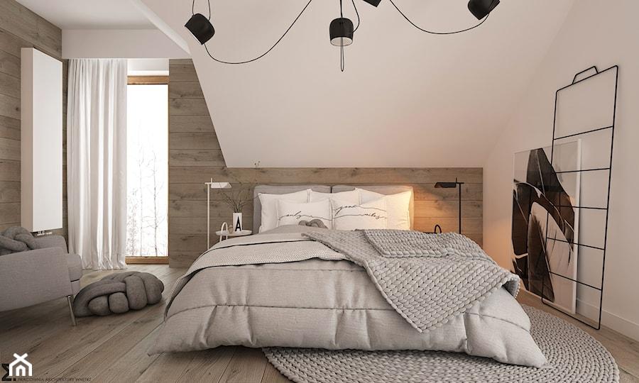 Aranżacje wnętrz - Sypialnia: New nordic 2 - koncepcja - Średnia biała sypialnia małżeńska na poddaszu, styl skandynawski - ELEMENTY. Przeglądaj, dodawaj i zapisuj najlepsze zdjęcia, pomysły i inspiracje designerskie. W bazie mamy już prawie milion fotografii!