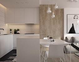 Apartament InFiore Park - Średnia otwarta biała kuchnia w kształcie litery l w aneksie z wyspą, styl skandynawski - zdjęcie od ELEMENTY