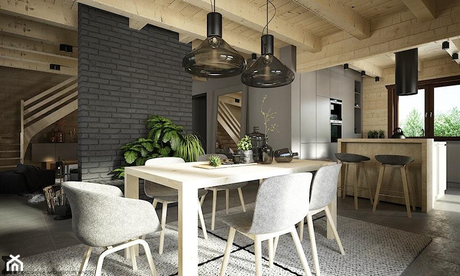 Drewno + szarość - Średnia otwarta szara jadalnia w kuchni, styl skandynawski - zdjęcie od ELEMENTY