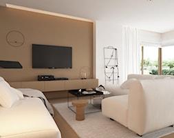 Skandynawski minimalizm w odcieniach nude - Średni biały brązowy salon z jadalnią, styl minimalistyczny - zdjęcie od ELEMENTY