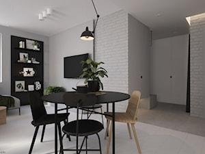 Soft-loft w szarości - Średnia otwarta biała szara jadalnia w salonie, styl industrialny - zdjęcie od ELEMENTY