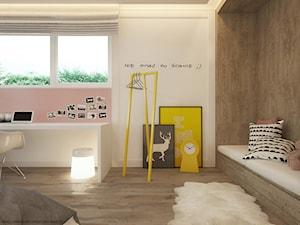 Pokoje dla nastolatków młodszych i najmłodszych - Średni biały pastelowy różowy pokój dziecka dla dziewczynki dla nastolatka, styl skandynawski - zdjęcie od ELEMENTY
