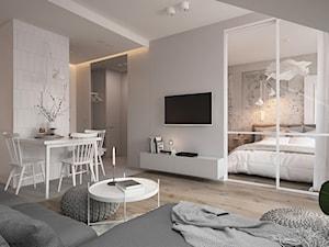 Apartament Praska Park - Średni biały salon z kuchnią z jadalnią, styl skandynawski - zdjęcie od ELEMENTY